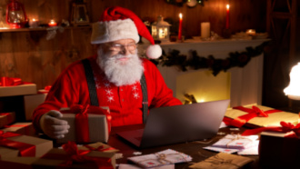 Santa watching online events from the North Pole.