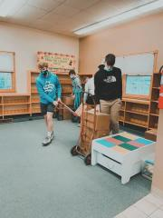 Stryker students load up books to prepare the library for renovation.